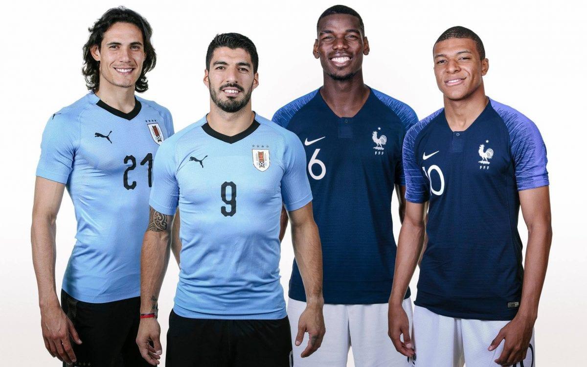 שחקני נבחרת אורוגוואי וצרפת