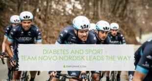 קבוצת נובו נורדיסק רוכבים עם שלט סכרת